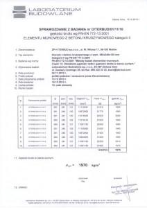 Sprawozdanie bad. laboratoryjnego  - bloczek betonowy M6 gr. 12cm