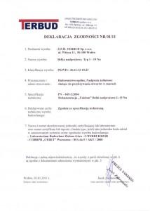 Deklaracja zgodności - belki  nadprożowe