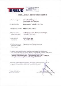 Deklaracja zgodności - belki stropowe Teriva